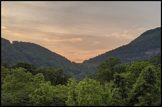 Cumberland Gap View of Trees and Mountain