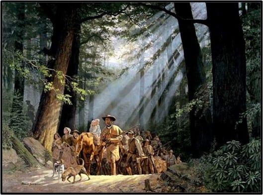 Daniel Boone leading immigrants through Cumberland Gap
